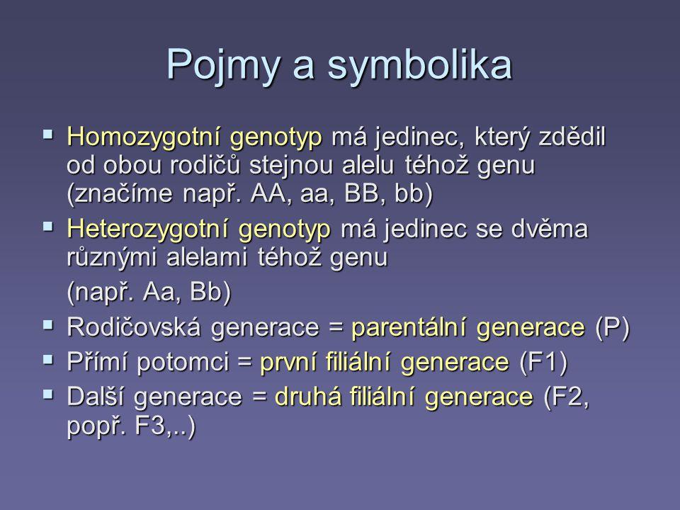 Pojmy a symbolika  Homozygotní genotyp má jedinec, který zdědil od obou rodičů stejnou alelu téhož genu (značíme např.