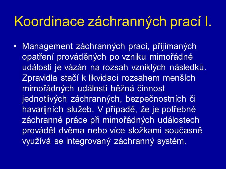 Koordinace záchranných prací I. •Management záchranných prací, přijímaných opatření prováděných po vzniku mimořádné události je vázán na rozsah vznikl