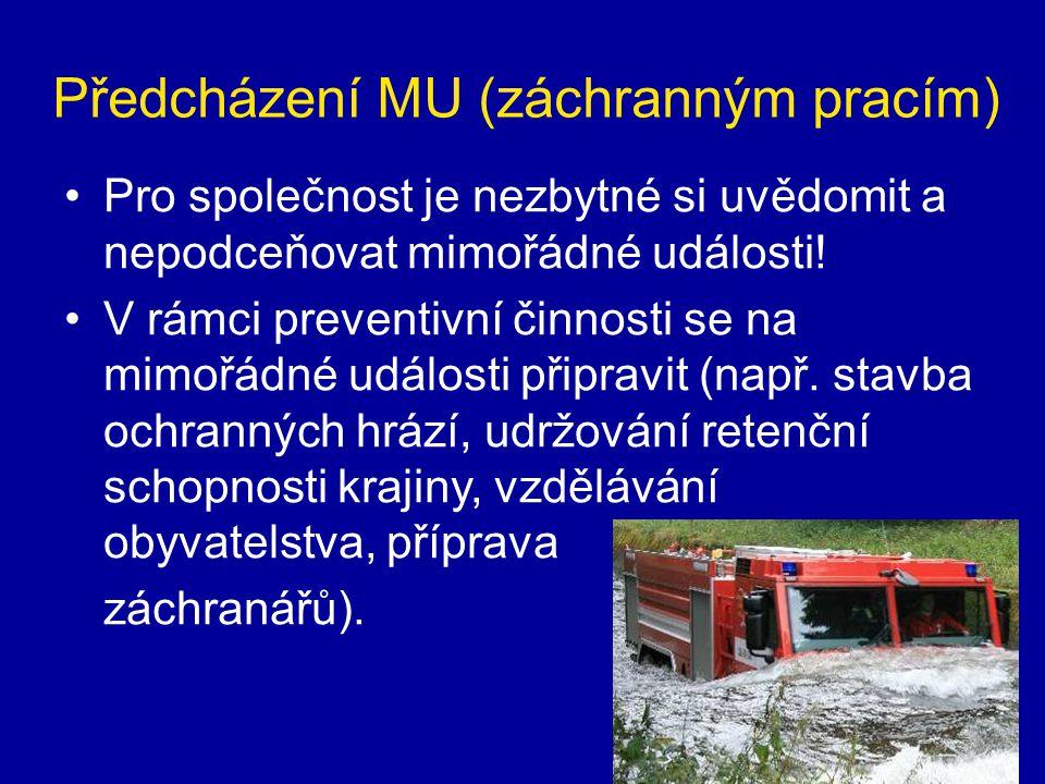Předcházení MU (záchranným pracím) •Pro společnost je nezbytné si uvědomit a nepodceňovat mimořádné události! •V rámci preventivní činnosti se na mimo