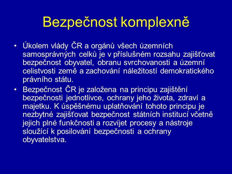 Bezpečnost komplexně •Úkolem vlády ČR a orgánů všech územních samosprávných celků je v příslušném rozsahu zajišťovat bezpečnost obyvatel, obranu svrch