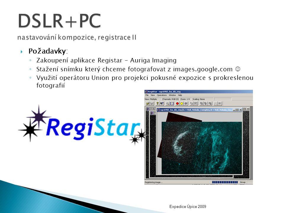  Požadavky: ◦ Zakoupení aplikace Registar - Auriga Imaging ◦ Stažení snímku který chceme fotografovat z images.google.com  ◦ Využití operátoru Union