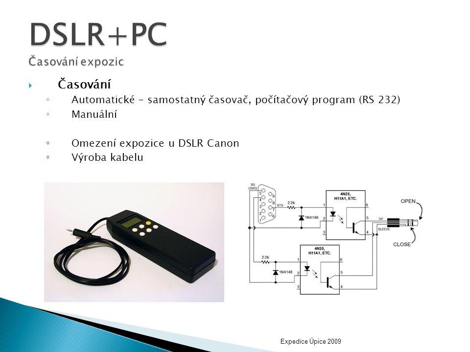  Časování ◦ Automatické – samostatný časovač, počítačový program (RS 232) ◦ Manuální ◦ Omezení expozice u DSLR Canon ◦ Výroba kabelu Expedice Úpice 2