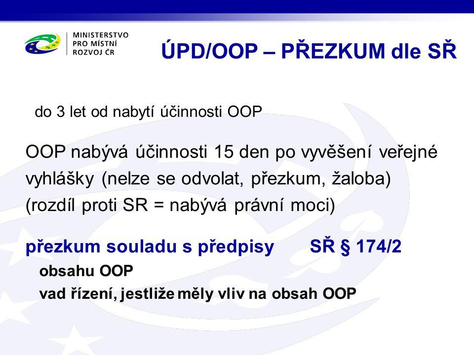do 3 let od nabytí účinnosti OOP OOP nabývá účinnosti 15 den po vyvěšení veřejné vyhlášky (nelze se odvolat, přezkum, žaloba) (rozdíl proti SR = nabývá právní moci) přezkum souladu s předpisy SŘ § 174/2 obsahu OOP vad řízení, jestliže měly vliv na obsah OOP ÚPD/OOP – PŘEZKUM dle SŘ