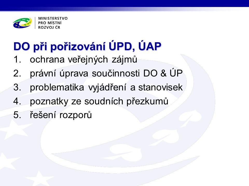 1.ochrana veřejných zájmů 2.právní úprava součinnosti DO & ÚP 3.problematika vyjádření a stanovisek 4.poznatky ze soudních přezkumů 5.řešení rozporů DO při pořizování ÚPD, ÚAP