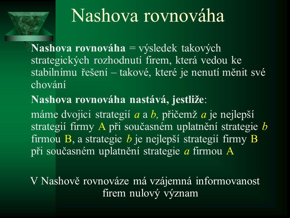 Nashova rovnováha  modely založené na teorii her  hráč – strategie – výsledky  chování firem: kooperativní X nekooperativní  kooperativní chování