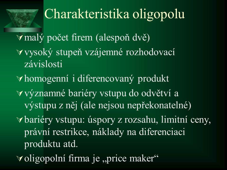 Oligopol s dominantní firmou ddominantní firma = cenový vůdce – firma, jejímiž jedinými konkurenty jsou firmy na tzv.