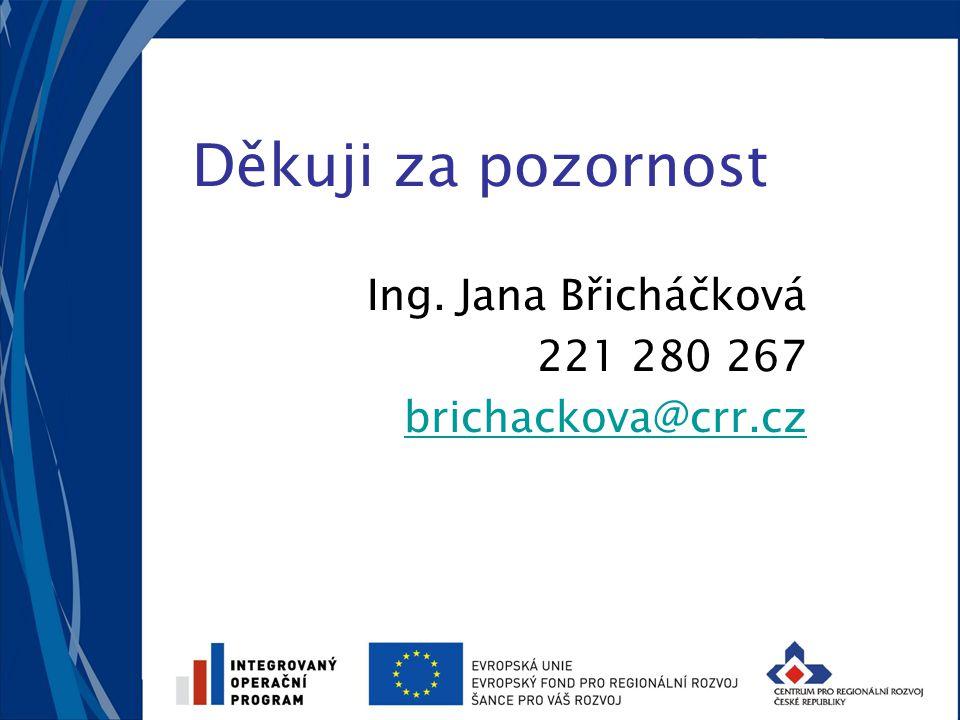 Děkuji za pozornost Ing. Jana Břicháčková 221 280 267 brichackova@crr.cz