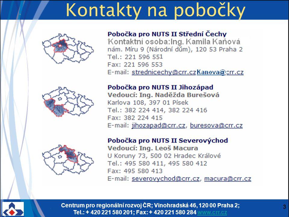 Centrum pro regionální rozvoj ČR; Vinohradská 46, 120 00 Praha 2; Tel.: + 420 221 580 201; Fax: + 420 221 580 284 www.crr.czwww.crr.cz 3 Kontakty na pobočky
