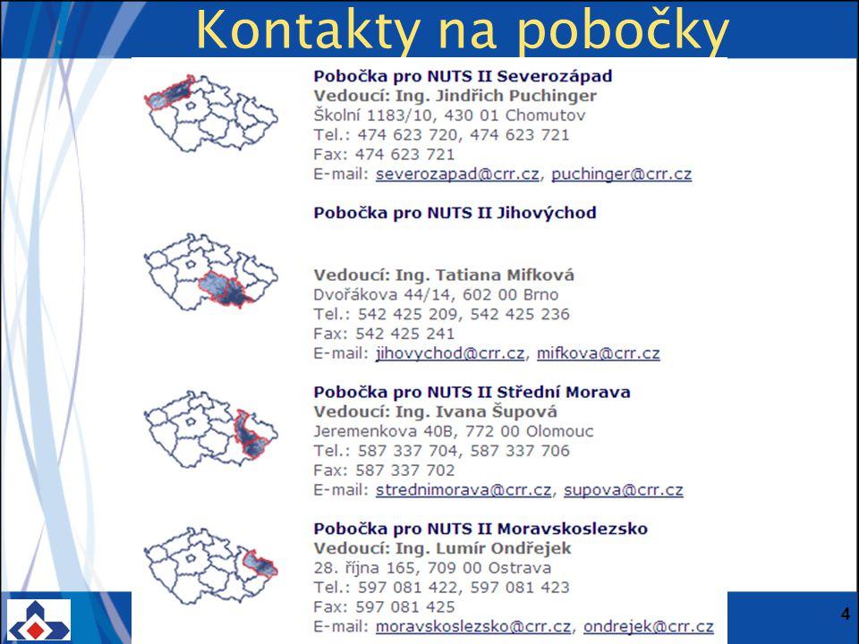 Centrum pro regionální rozvoj ČR; Vinohradská 46, 120 00 Praha 2; Tel.: + 420 221 580 201; Fax: + 420 221 580 284 www.crr.czwww.crr.cz 4 Kontakty na pobočky