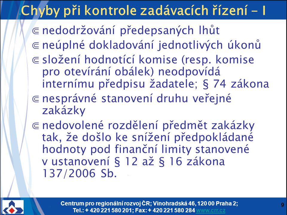 Centrum pro regionální rozvoj ČR; Vinohradská 46, 120 00 Praha 2; Tel.: + 420 221 580 201; Fax: + 420 221 580 284 www.crr.czwww.crr.cz 9 Chyby při kon