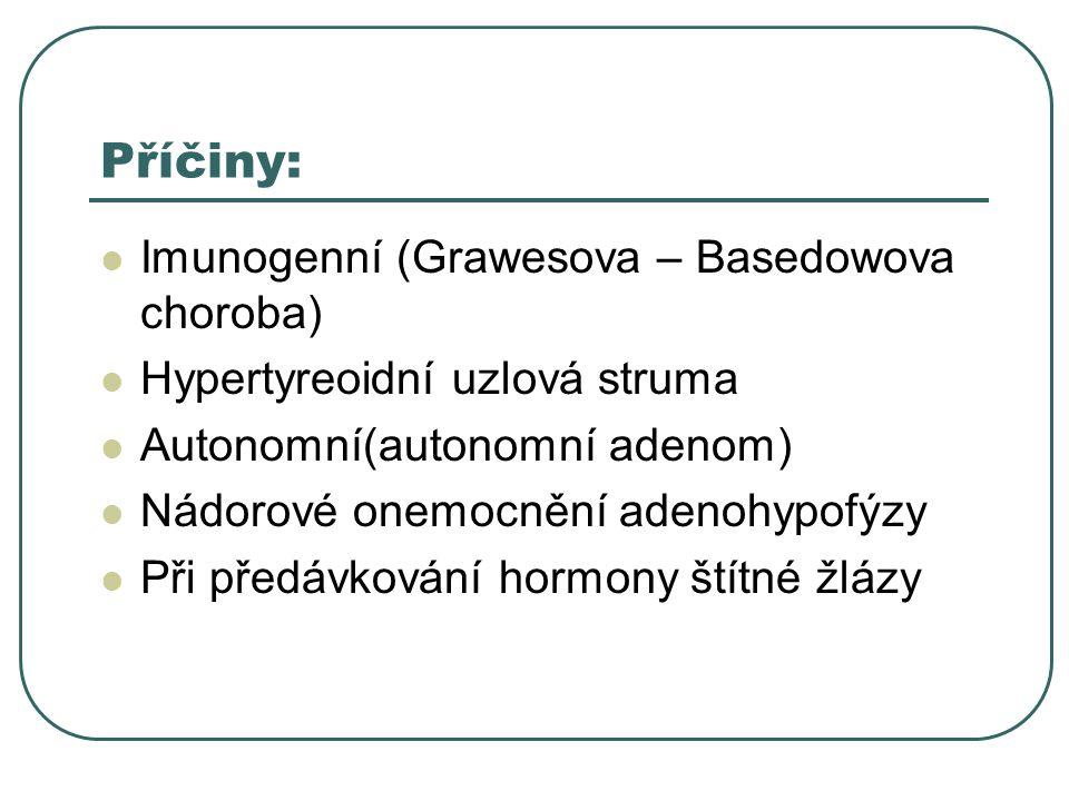 Příčiny:  Imunogenní (Grawesova – Basedowova choroba)  Hypertyreoidní uzlová struma  Autonomní(autonomní adenom)  Nádorové onemocnění adenohypofýzy  Při předávkování hormony štítné žlázy