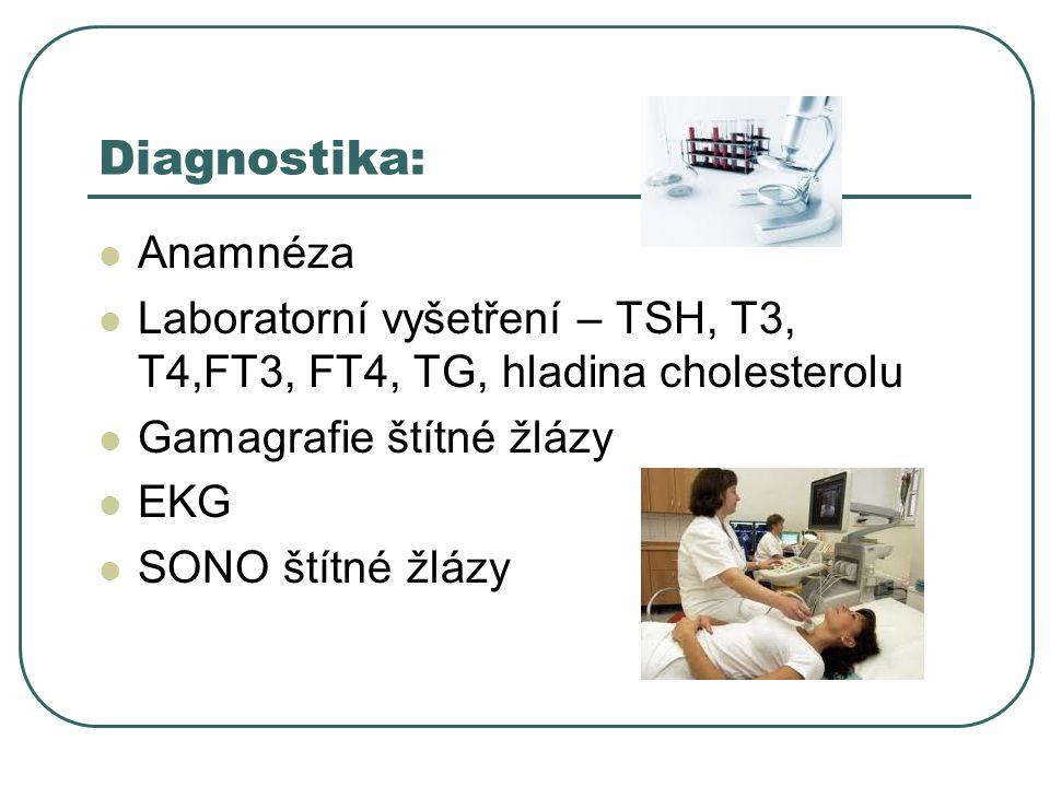 Diagnostika:  Anamnéza  Laboratorní vyšetření – TSH, T3, T4,FT3, FT4, TG, hladina cholesterolu  Gamagrafie štítné žlázy  EKG  SONO štítné žlázy