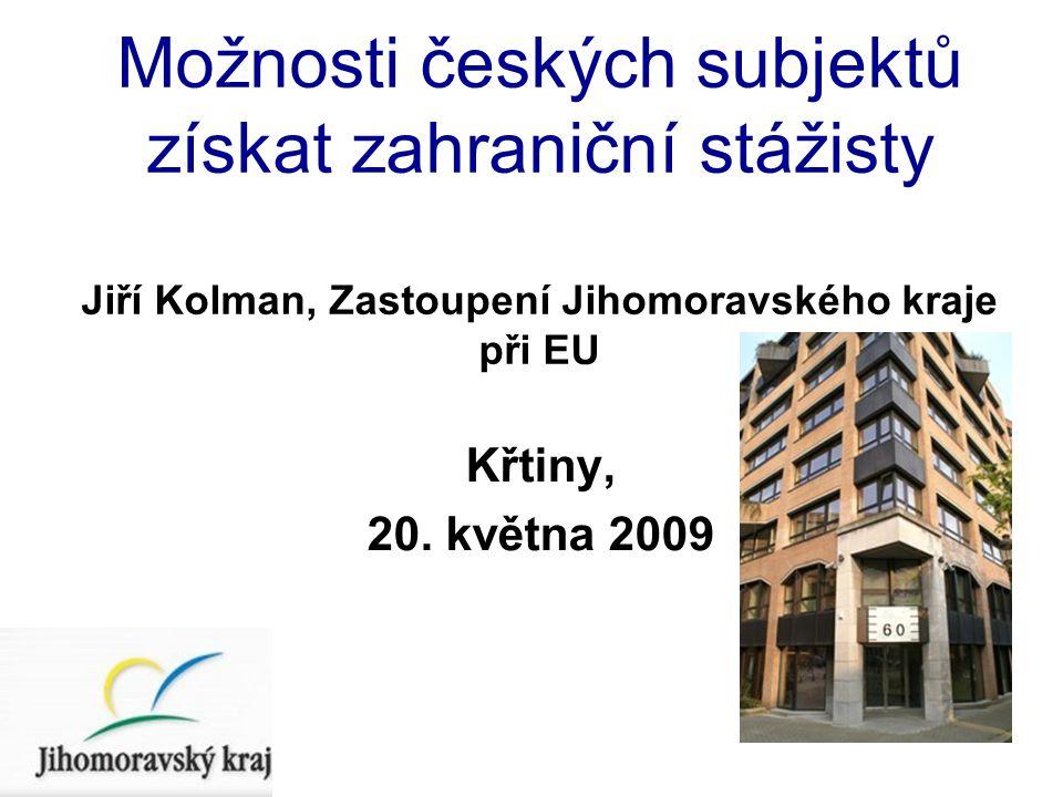 Možnosti českých subjektů získat zahraniční stážisty Jiří Kolman, Zastoupení Jihomoravského kraje při EU Křtiny, 20.