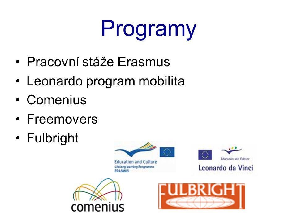 Programy •Pracovní stáže Erasmus •Leonardo program mobilita •Comenius •Freemovers •Fulbright