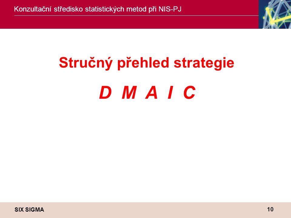 SIX SIGMA Konzultační středisko statistických metod při NIS-PJ 10 Stručný přehled strategie D M A I C
