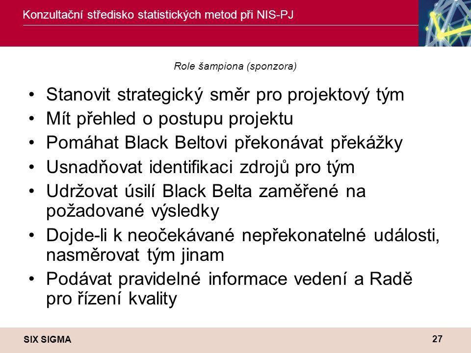 SIX SIGMA Konzultační středisko statistických metod při NIS-PJ 27 Role šampiona (sponzora) •Stanovit strategický směr pro projektový tým •Mít přehled