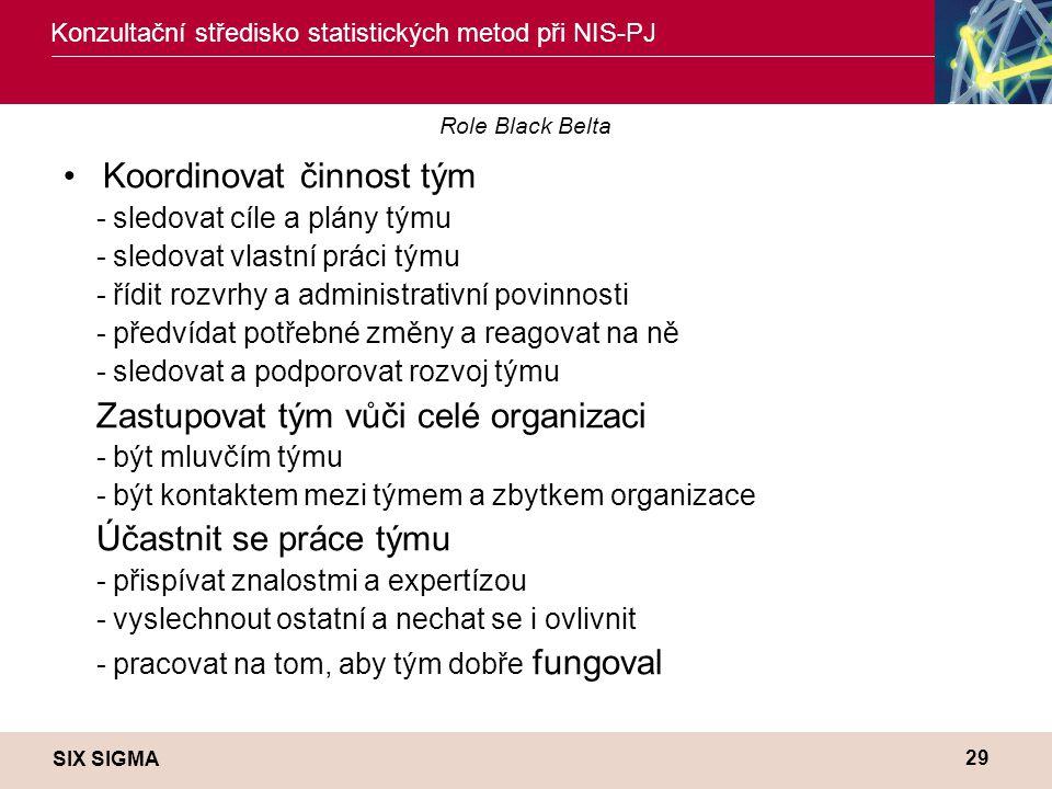 SIX SIGMA Konzultační středisko statistických metod při NIS-PJ 29 Role Black Belta •Koordinovat činnost tým - sledovat cíle a plány týmu - sledovat vl