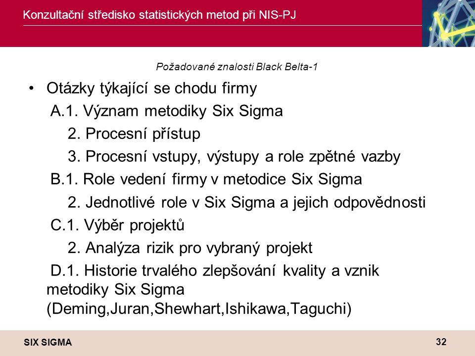 SIX SIGMA Konzultační středisko statistických metod při NIS-PJ 32 Požadované znalosti Black Belta-1 •Otázky týkající se chodu firmy A.1. Význam metodi