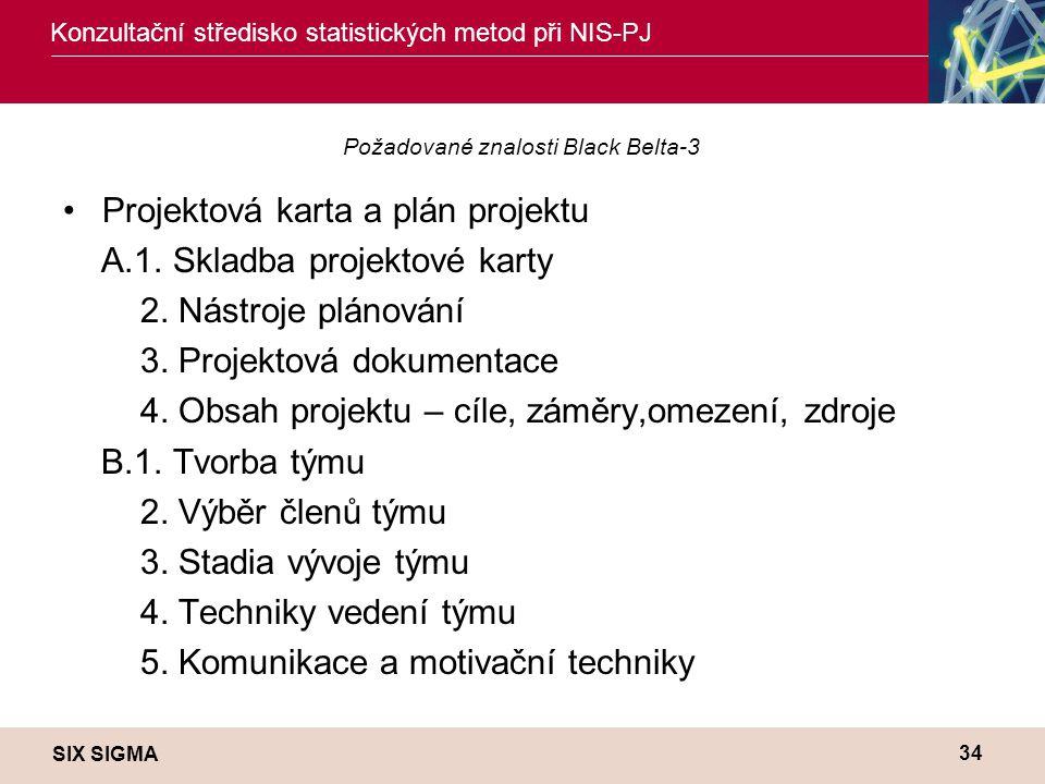 SIX SIGMA Konzultační středisko statistických metod při NIS-PJ 34 Požadované znalosti Black Belta-3 •Projektová karta a plán projektu A.1. Skladba pro