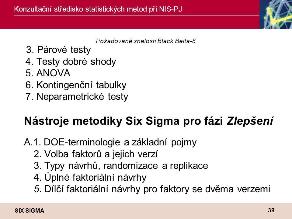 SIX SIGMA Konzultační středisko statistických metod při NIS-PJ 39 Požadované znalosti Black Belta-8 3. Párové testy 4. Testy dobré shody 5. ANOVA 6. K