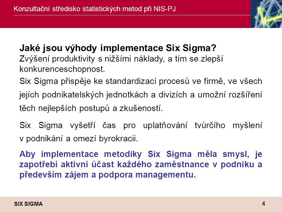 SIX SIGMA Konzultační středisko statistických metod při NIS-PJ 4 Jaké jsou výhody implementace Six Sigma? Zvýšení produktivity s nižšími náklady, a tí