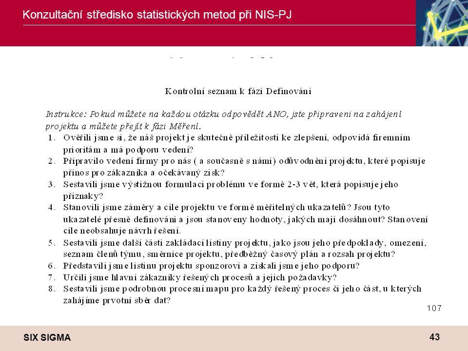 SIX SIGMA Konzultační středisko statistických metod při NIS-PJ 43 Kontrolní fáze