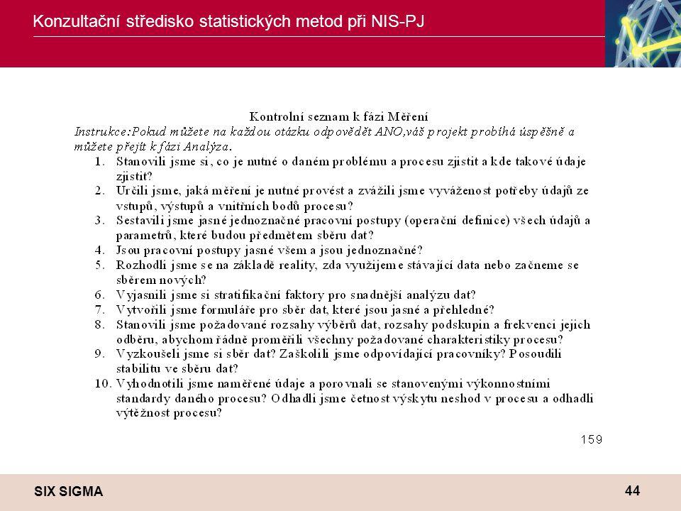 SIX SIGMA Konzultační středisko statistických metod při NIS-PJ 44