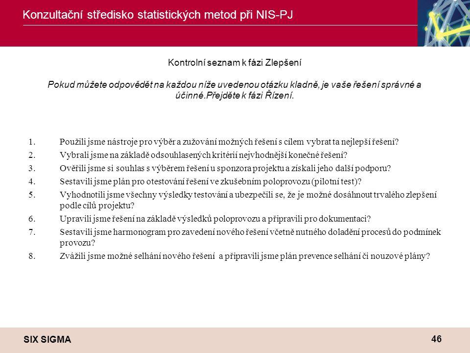 SIX SIGMA Konzultační středisko statistických metod při NIS-PJ 46 Kontrolní seznam k fázi Zlepšení Pokud můžete odpovědět na každou níže uvedenou otáz