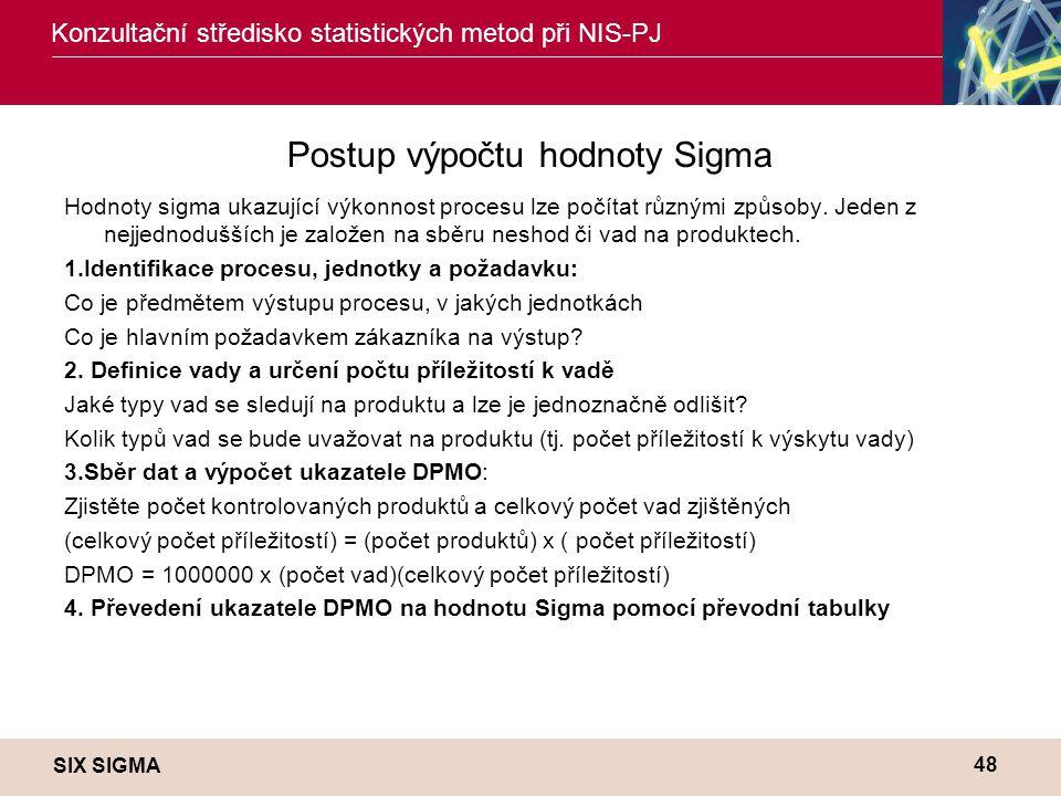 SIX SIGMA Konzultační středisko statistických metod při NIS-PJ 48 Postup výpočtu hodnoty Sigma Hodnoty sigma ukazující výkonnost procesu lze počítat různými způsoby.
