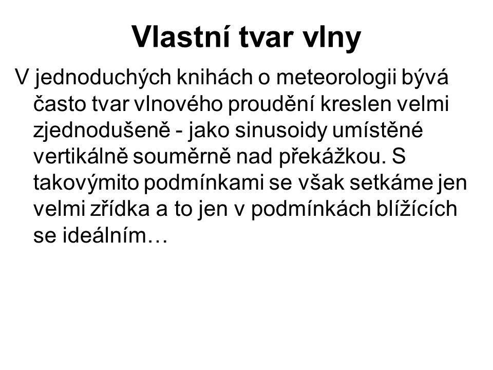 Vlastní tvar vlny V jednoduchých knihách o meteorologii bývá často tvar vlnového proudění kreslen velmi zjednodušeně - jako sinusoidy umístěné vertiká