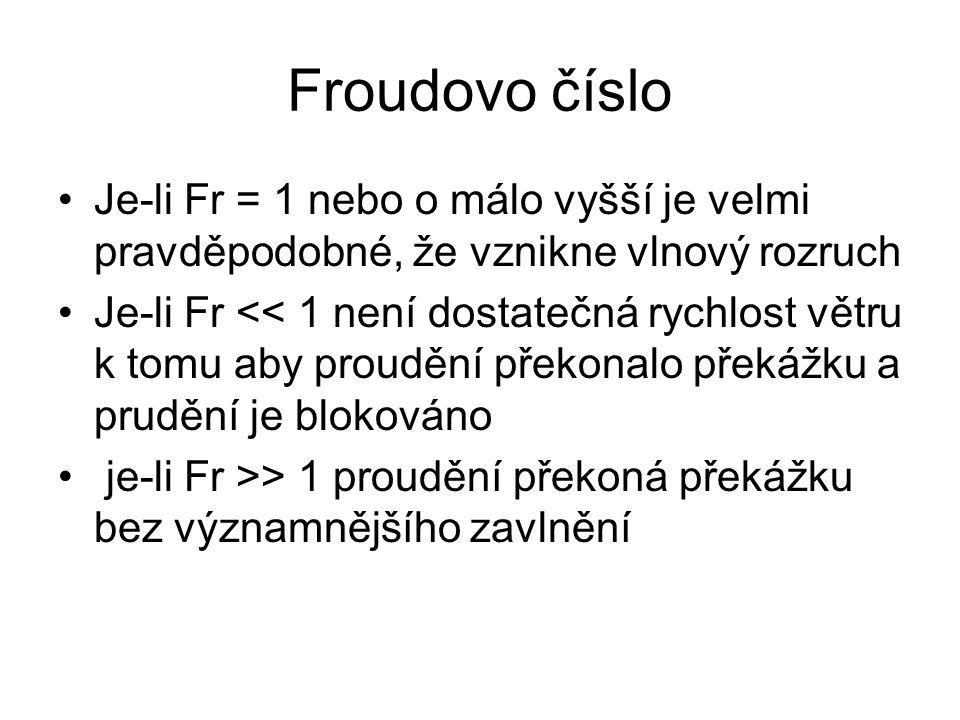 Froudovo číslo •Je-li Fr = 1 nebo o málo vyšší je velmi pravděpodobné, že vznikne vlnový rozruch •Je-li Fr << 1 není dostatečná rychlost větru k tomu