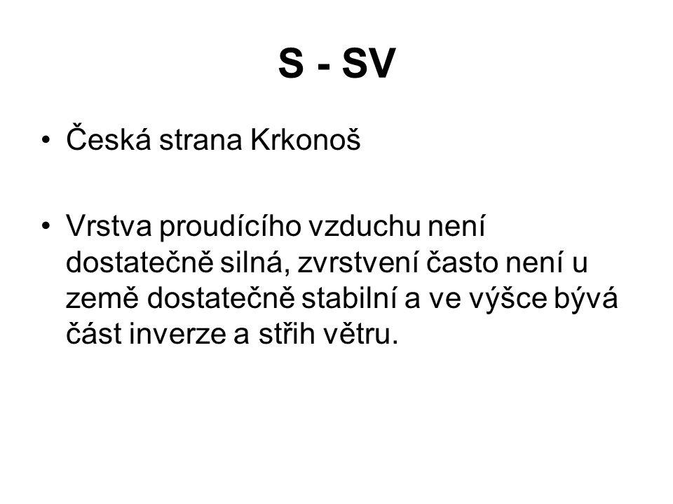 S - SV •Česká strana Krkonoš •Vrstva proudícího vzduchu není dostatečně silná, zvrstvení často není u země dostatečně stabilní a ve výšce bývá část in