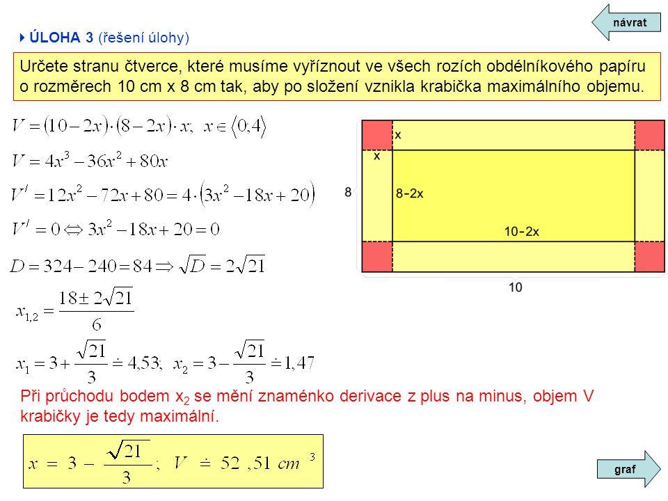  ÚLOHA 3 (řešení úlohy) návrat Určete stranu čtverce, které musíme vyříznout ve všech rozích obdélníkového papíru o rozměrech 10 cm x 8 cm tak, aby p