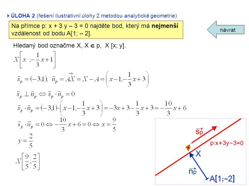  ÚLOHA 2 (řešení ilustrativní úlohy 2 metodou analytické geometrie) návrat Na přímce p: x + 3 y – 3 = 0 najděte bod, který má nejmenší vzdálenost od