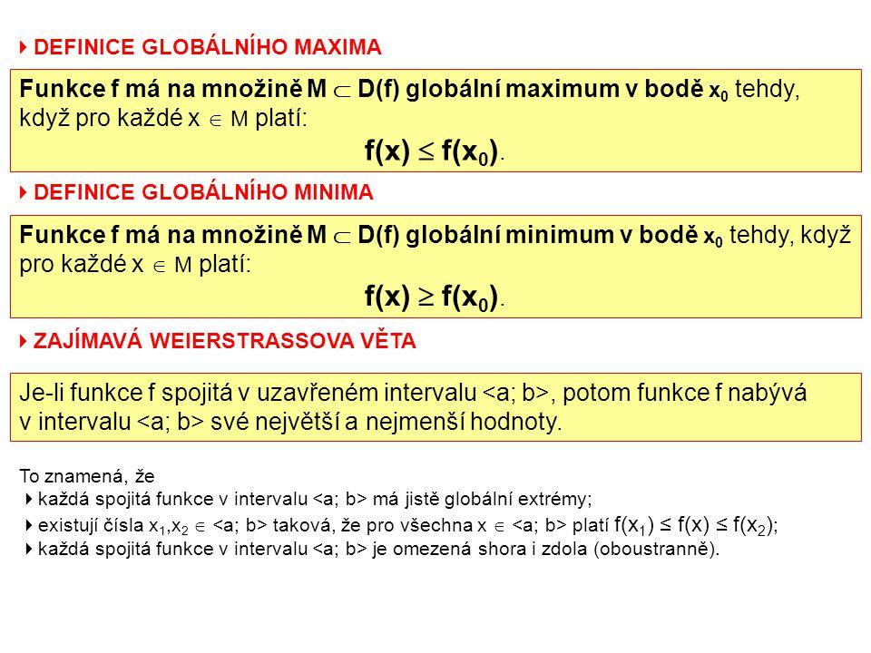  DEFINICE GLOBÁLNÍHO MAXIMA Funkce f má na množině M  D(f) globální maximum v bodě x 0 tehdy, když pro každé x  M platí: f(x)  f(x 0 ).  DEFINICE