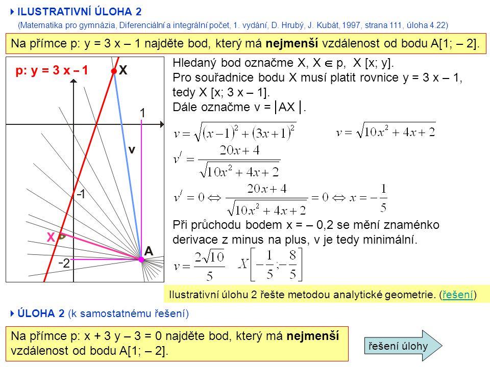  ILUSTRATIVNÍ ÚLOHA 2 (Matematika pro gymnázia, Diferenciální a integrální počet, 1. vydání, D. Hrubý, J. Kubát, 1997, strana 111, úloha 4.22) Na pří