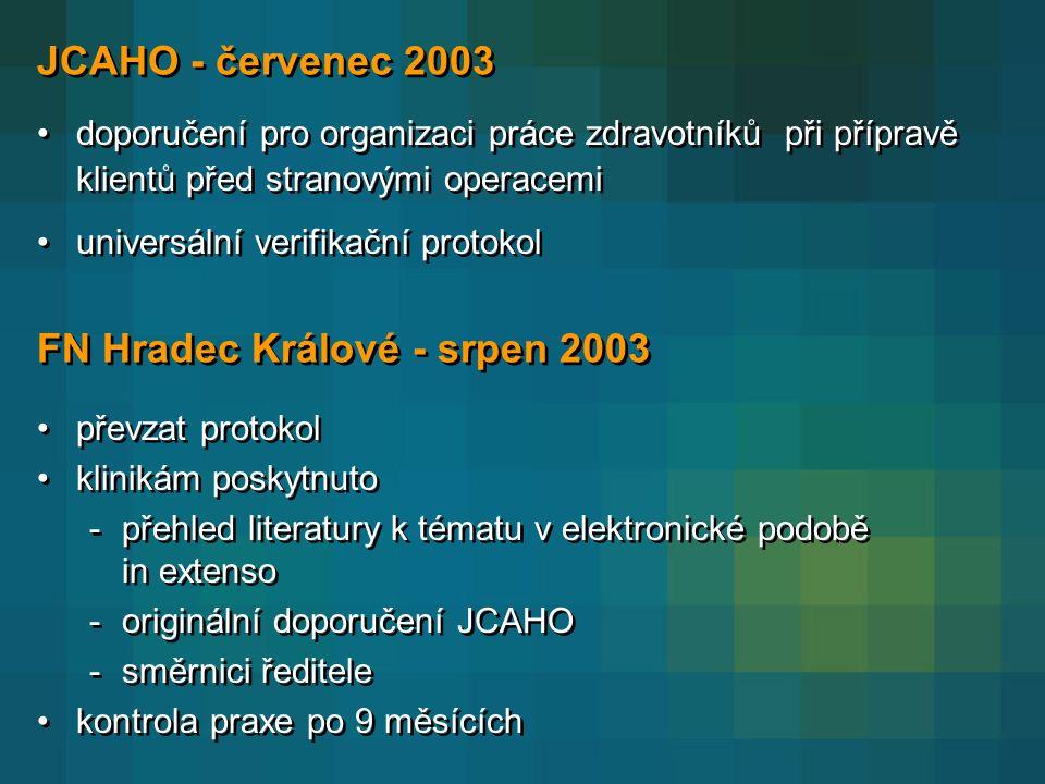 JCAHO - červenec 2003 •doporučení pro organizaci práce zdravotníků při přípravě klientů před stranovými operacemi •universální verifikační protokol •doporučení pro organizaci práce zdravotníků při přípravě klientů před stranovými operacemi •universální verifikační protokol FN Hradec Králové - srpen 2003 •převzat protokol •klinikám poskytnuto -přehled literatury k tématu v elektronické podobě in extenso -originální doporučení JCAHO -směrnici ředitele •kontrola praxe po 9 měsících •převzat protokol •klinikám poskytnuto -přehled literatury k tématu v elektronické podobě in extenso -originální doporučení JCAHO -směrnici ředitele •kontrola praxe po 9 měsících