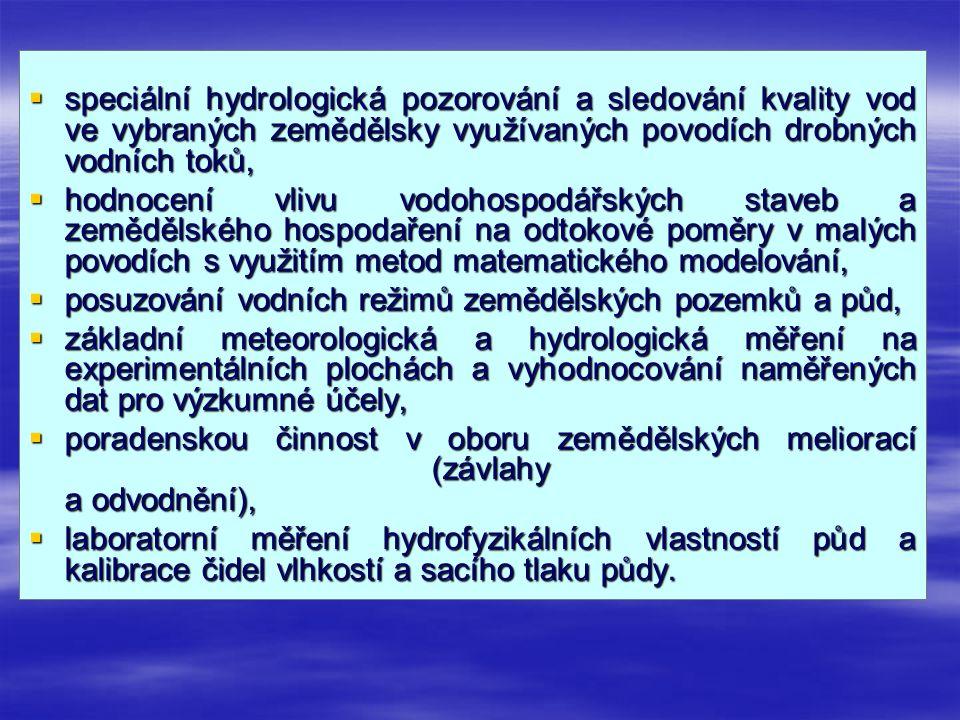.  speciální hydrologická pozorování a sledování kvality vod ve vybraných zemědělsky využívaných povodích drobných vodních toků,  hodnocení vlivu vo