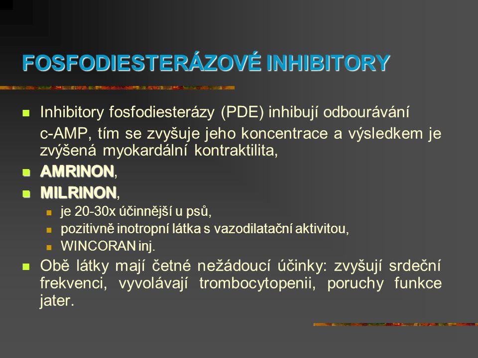 FOSFODIESTERÁZOVÉ INHIBITORY  Inhibitory fosfodiesterázy (PDE) inhibují odbourávání c-AMP, tím se zvyšuje jeho koncentrace a výsledkem je zvýšená myo