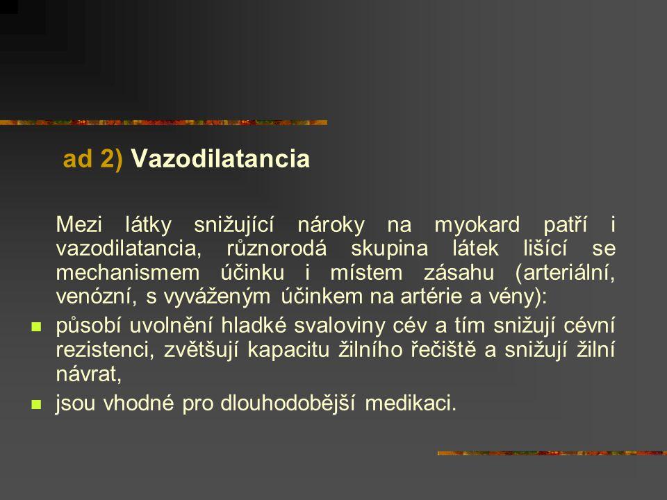 ad 2) Vazodilatancia Mezi látky snižující nároky na myokard patří i vazodilatancia, různorodá skupina látek lišící se mechanismem účinku i místem zása