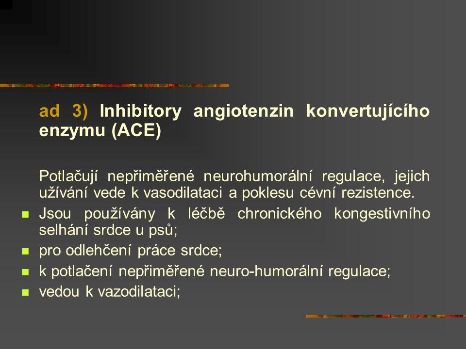 ad 3) Inhibitory angiotenzin konvertujícího enzymu (ACE) Potlačují nepřiměřené neurohumorální regulace, jejich užívání vede k vasodilataci a poklesu c