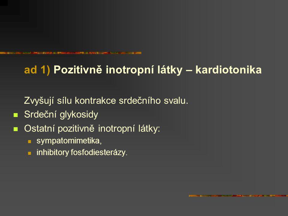 ad 1) Pozitivně inotropní látky – kardiotonika Zvyšují sílu kontrakce srdečního svalu.  Srdeční glykosidy  Ostatní pozitivně inotropní látky:  symp