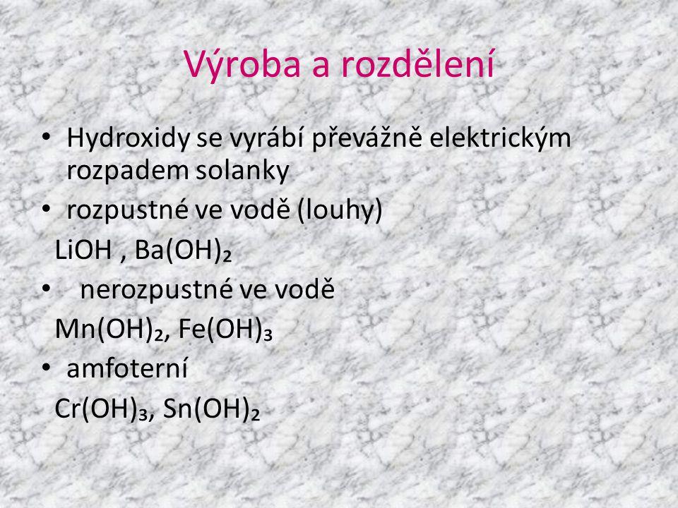 Výroba a rozdělení • Hydroxidy se vyrábí převážně elektrickým rozpadem solanky • rozpustné ve vodě (louhy) LiOH, Ba(OH)₂ • nerozpustné ve vodě Mn(OH)₂