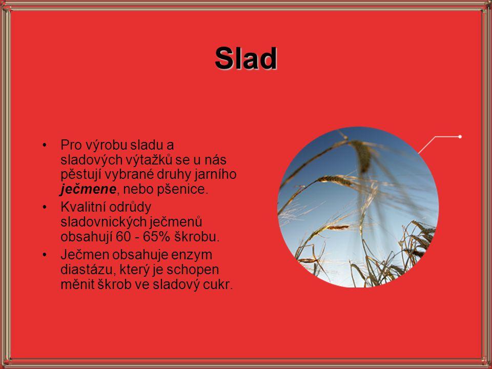 Slad •Pro výrobu sladu a sladových výtažků se u nás pěstují vybrané druhy jarního ječmene, nebo pšenice. •Kvalitní odrůdy sladovnických ječmenů obsahu