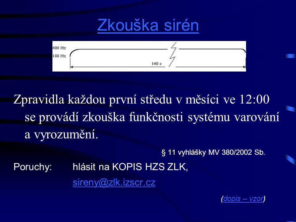Zkouška sirén Zpravidla každou první středu v měsíci ve 12:00 se provádí zkouška funkčnosti systému varování a vyrozumění. § 11 vyhlášky MV 380/2002 S