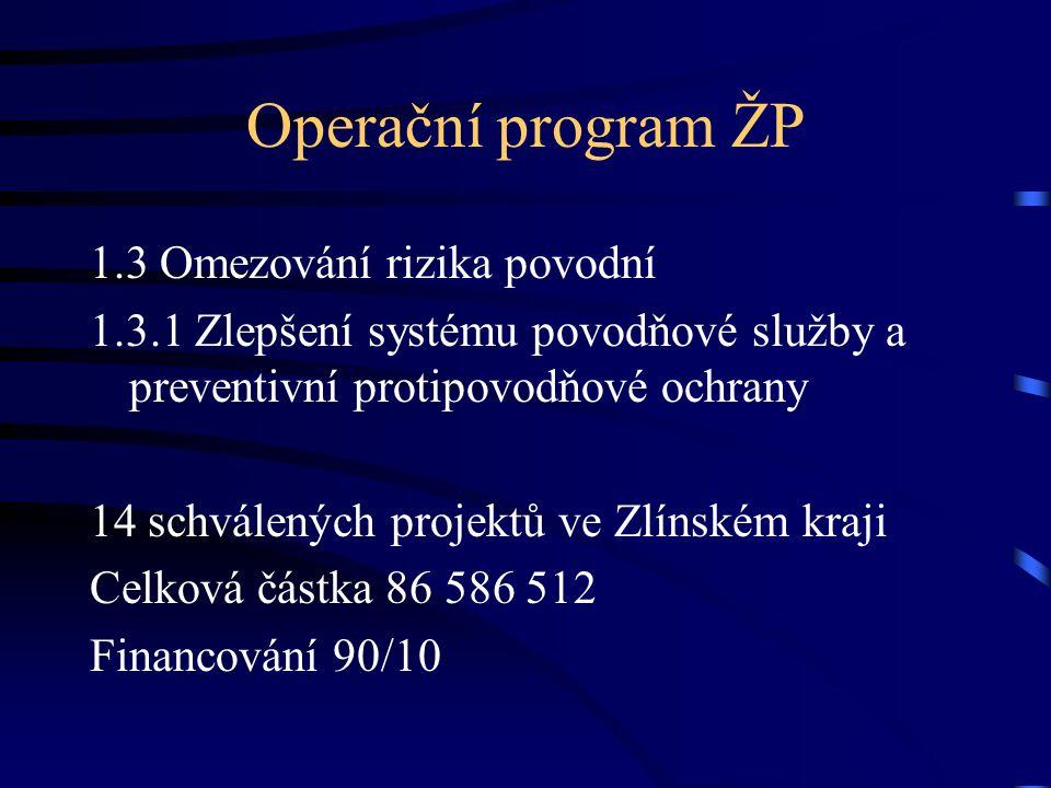 Operační program ŽP 1.3 Omezování rizika povodní 1.3.1 Zlepšení systému povodňové služby a preventivní protipovodňové ochrany 14 schválených projektů