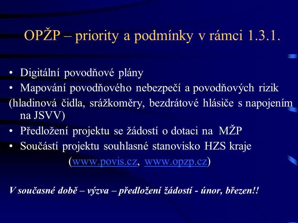 OPŽP – priority a podmínky v rámci 1.3.1. •Digitální povodňové plány •Mapování povodňového nebezpečí a povodňových rizik (hladinová čidla, srážkoměry,