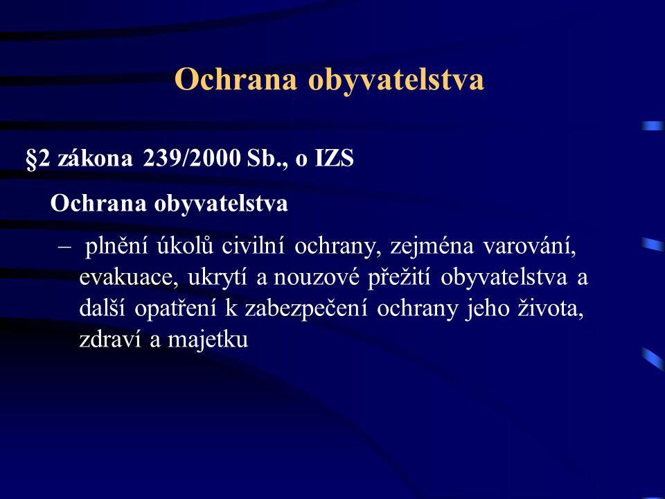 Ochrana obyvatelstva §2 zákona 239/2000 Sb., o IZS Ochrana obyvatelstva – plnění úkolů civilní ochrany, zejména varování, evakuace, ukrytí a nouzové p