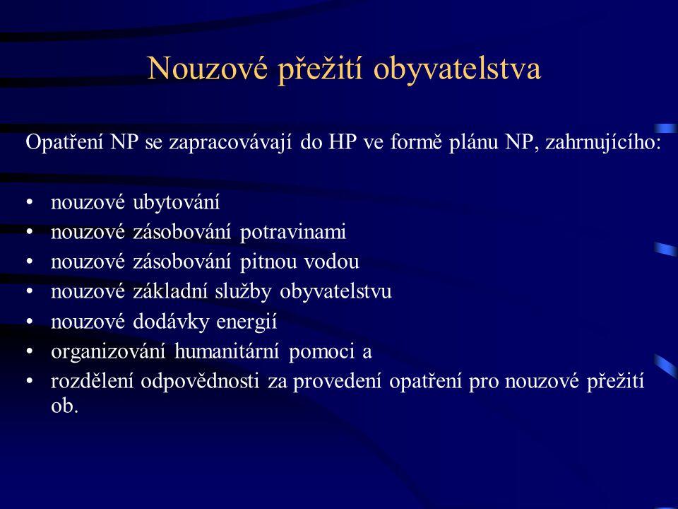 Nouzové přežití obyvatelstva Opatření NP se zapracovávají do HP ve formě plánu NP, zahrnujícího: •nouzové ubytování •nouzové zásobování potravinami •n