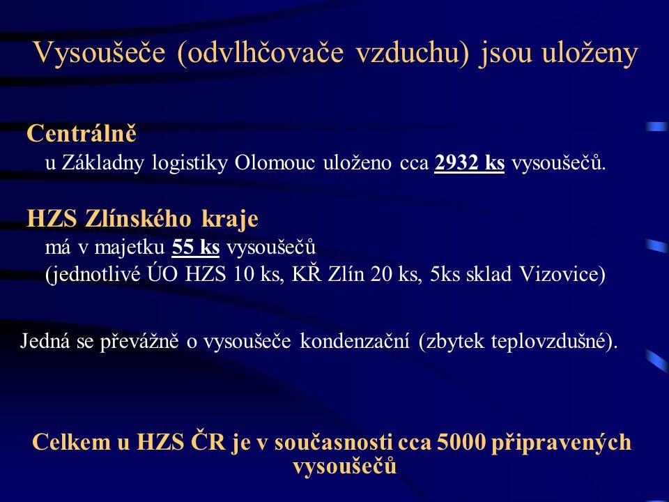 Vysoušeče (odvlhčovače vzduchu) jsou uloženy Centrálně u Základny logistiky Olomouc uloženo cca 2932 ks vysoušečů. HZS Zlínského kraje má v majetku 55